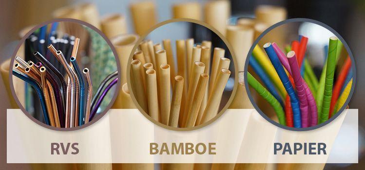 Rietjes van rvs, bamboe en papier